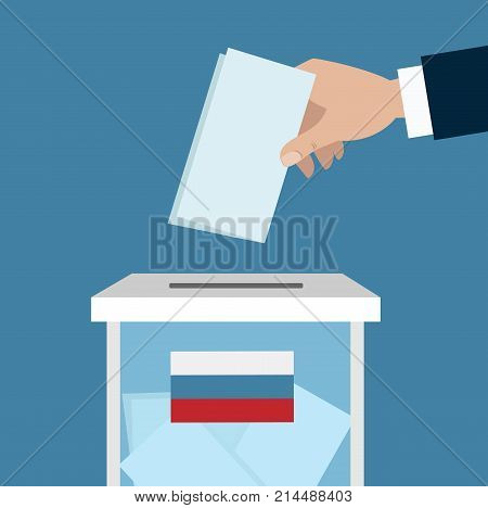 Russian ballot box with flag. Hand puts voting paper inside.