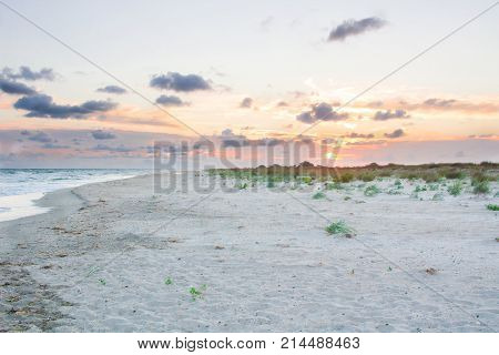 Sandy Empty Sea Coast Seaview, Cloudy Colorful Sunrise Skyview