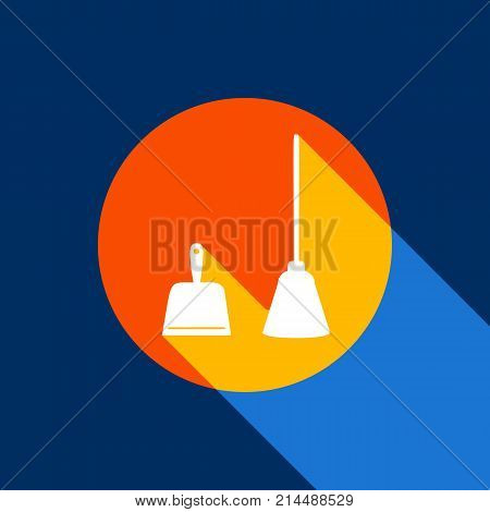Dustpan vector sign. Scoop for cleaning garbage housework dustpan equipment. Vector. White icon on tangelo circle with infinite shadow of light at cool black background. Selective yellow and bright navy blue are produced.