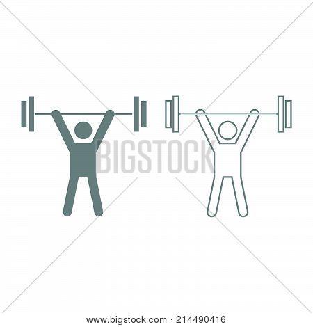 Man Uping Weight Icon. Grey Set .