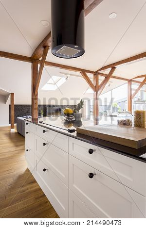 Kitchenette With White Cabinets