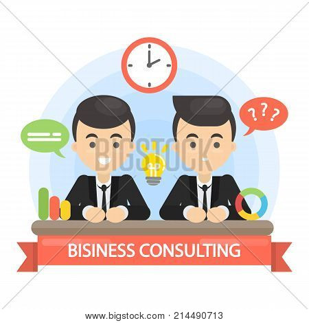 Business consulting illustration. Two businessmen at meeting.