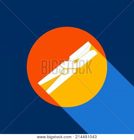 Clothes peg sign. Vector. White icon on tangelo circle with infinite shadow of light at cool black background. Selective yellow and bright navy blue are produced.