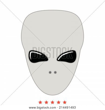Extraterrestrial Alien Face Or Head Icon .