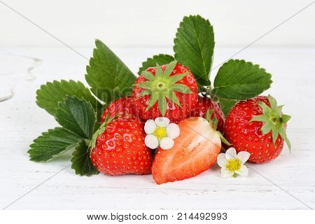Strawberries Fruits Strawberry Leaves On Wooden Board
