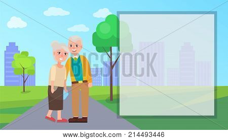 Grandma and grandpa vector illustration in city park with place for text. National Grandparents Day poster with senior couple, retired characters