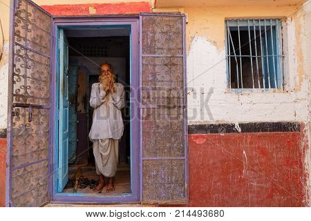 Jodhpur, India, October 31, 2017 : People In Their Traditional Brahmin Houses In Jodhpur City Center