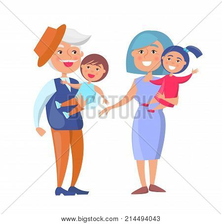 Mature couple holding children on hand, grandpa in hat and grandma with kids vector illustration isolated on white background