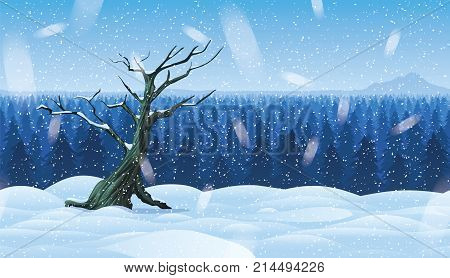 A high quality horizontal background of cold, snowy landscape with deep winter forest.