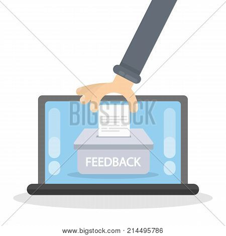 Feedback concept illustration. Putting your feedback into poll on the laptop screen.
