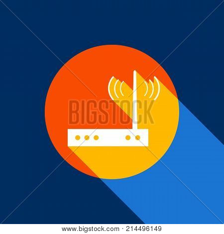 Wifi modem sign. Vector. White icon on tangelo circle with infinite shadow of light at cool black background. Selective yellow and bright navy blue are produced. poster