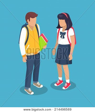Schoolchildren from secondary school with backpacks, holding books in hands vector illustration isolated. Pupils cartoon characters with rucksack