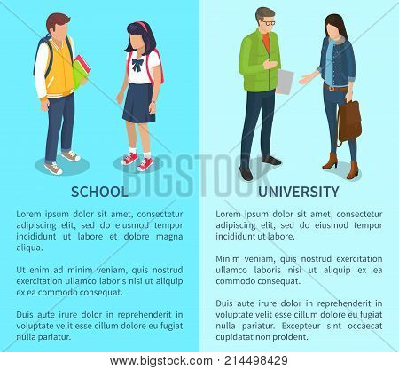 School and university set of posters with text. Isolated vector illustration of young and adult boys and girls on light blue background