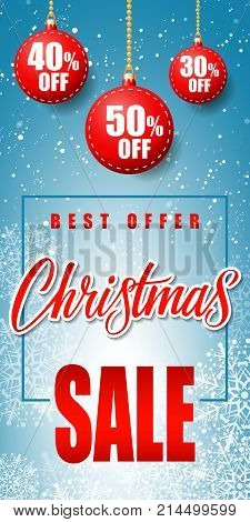 Christmas sale best offer lettering with bauble-shaped tags and snowflakes on blue background. Inscription can be used for leaflets, festive design, posters, banners.