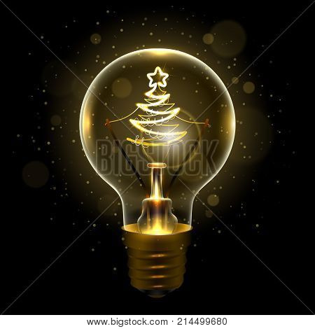 Realistic lamp with the symbol of christmas tree instead of the filament of incandescence, isolated on a dark background, vector illustration