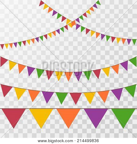 Vector set of decorative party pennants with different sizes and lengths. Celebrate flags. Rainbow garland. Birthday decoration. Hanging colored flags