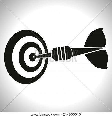 Target and arrow icon. Perfect shot with arrow in bull's eye of archery or dart target. Vector Illustration.