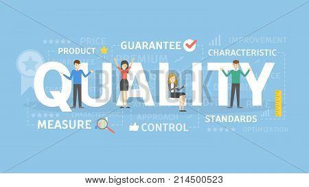 Quality concept illustration. Idea of guarantee, measurement and control.