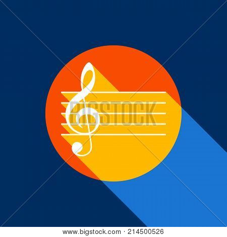 Music violin clef sign. G-clef. Vector. White icon on tangelo circle with infinite shadow of light at cool black background. Selective yellow and bright navy blue are produced.