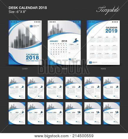Set Desk Calendar 2018 template design, blue cover, Set of 12 Months, Week start Sunday