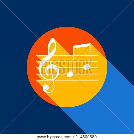Music violin clef sign. G-clef and notes G, H. Vector. White icon on tangelo circle with infinite shadow of light at cool black background. Selective yellow and bright navy blue are produced.