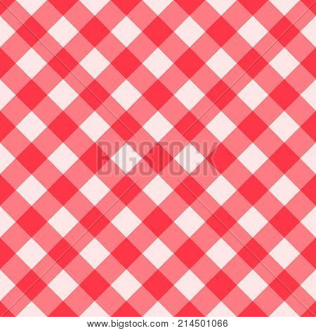 Red Gingham seamless pattern. Texture from rhombus squares for - plaid tablecloths clothes shirts dresses paper bedding blankets quilts and other textile products. Vector illustration
