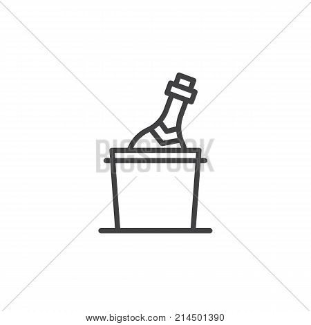 Champagne bottle in a bucket with ice line icon, outline vector sign, linear style pictogram isolated on white. Symbol, logo illustration. Editable stroke