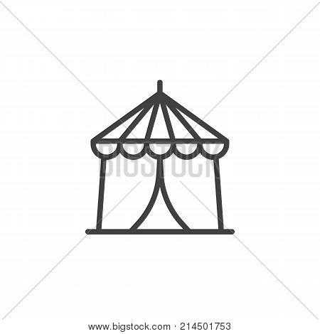 Circus tent line icon, outline vector sign, linear style pictogram isolated on white. Carnival fast food cart symbol, logo illustration. Editable stroke