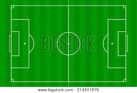 Football field or soccer field background. Vector green court for create game