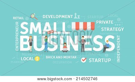 Small business concept illustration. Idea of development, money and success.