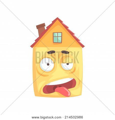 Cute stressed house cartoon character, funny facial expression emoticon vector illustration isolated on a white background