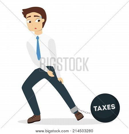 Isolated businessman with taxes burden on leg on white.