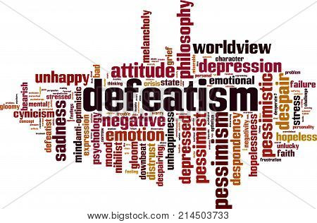 Defeatism word cloud concept. Vector illustration on white