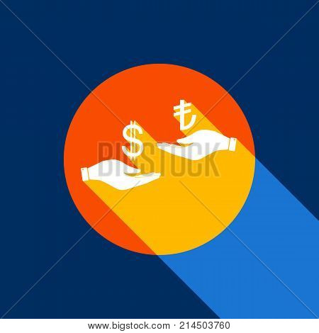 Currency exchange from hand to hand. Dollar and Turkey Lira. Vector. White icon on tangelo circle with infinite shadow of light at cool black background. Selective yellow and bright navy blue are produced.