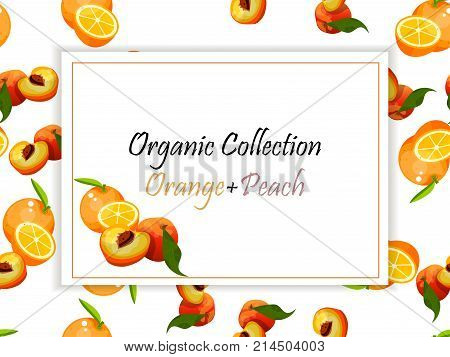Colorful vintage Peach and orange label poster vector illustration. symbol for jam and juice product label or grocery store, shop and farm market design. Vector square label, peach and orange jam, sauce or juice label