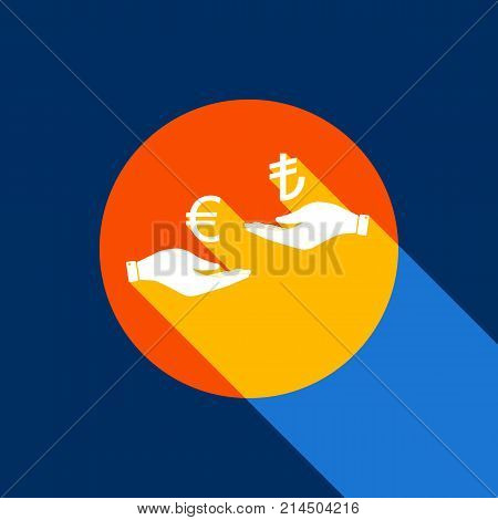 Currency exchange from hand to hand. Euro and Lira. Vector. White icon on tangelo circle with infinite shadow of light at cool black background. Selective yellow and bright navy blue are produced.