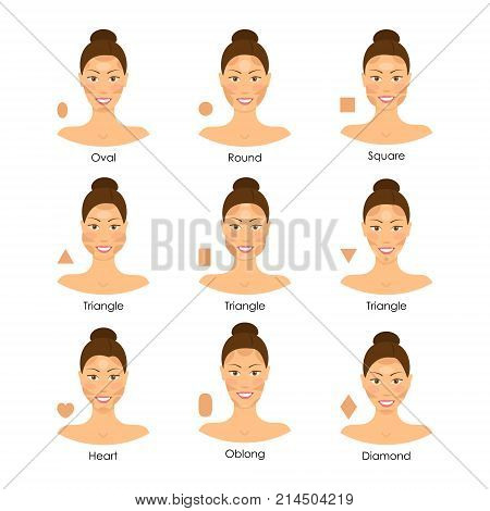 Cartoon Face Type Contouring Tutorial Icon Set Variation Correction Proportion Highlight Beauty Girl Female Makeup Types Concept. Vector illustration