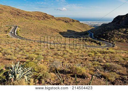 Twisty road to Maspalomas. Gran Canaria. Spain.