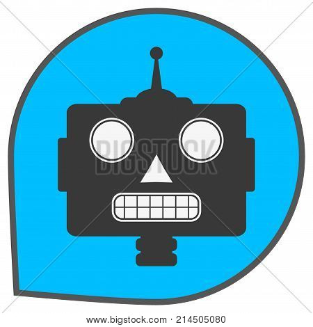 Robot icon. Bot sign design. Chatbot symbol concept. Voice support service bot. Online support bot. Modern flat style cartoon character illustration. Isolated on white background.