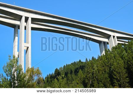 Detail of Highway Bridge from Bellow with Blue Sky