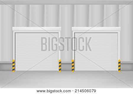 Realistic Detailed 3d Template Blank White Roller Warehouse Shutter Doors. Vector illustration
