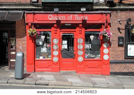 DUBLIN IRELAND - SEPTEMBER 5 2016: The Queen of Tarts Bar on September 5 2016 in Dublin. The Queen of Tarts Bar is a famous landmark in Dublins cultural quarter visited by thousands of tourists every year