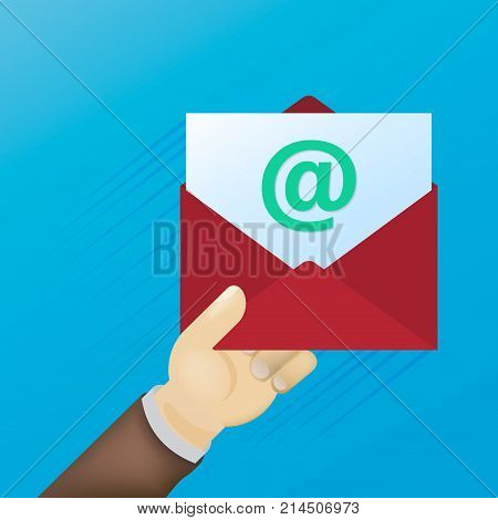 Email message concept. New incoming message sms. Hand holding envelope letter. Delivery of messages sms. Mail notification sending messages. Get mail chat message Coming messages