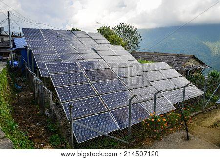 Solar Panels At Grandruk Village In Nepal