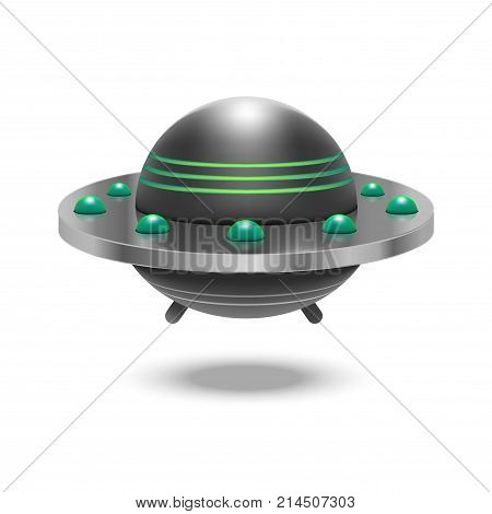 Realistic Detailed 3d Ufo Fly Spaceship Isolated on White Background Alien Technology Concept. Vector illustration of Unidentified Flying Object