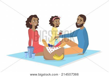 Family at picnic. Isolated african parents and daughter on blanket withfood on white background.