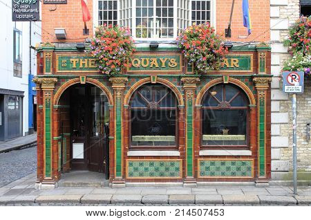 DUBLIN IRELAND - SEPTEMBER 5 2016: The Quay's Bar on September 5 2016 in Dublin. The Quay's Bar is a famous landmark in Dublins cultural quarter visited by thousands of tourists every year