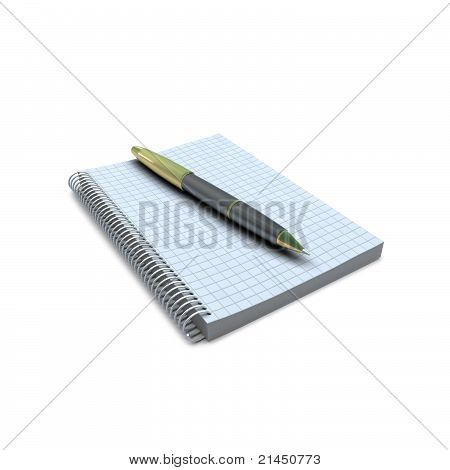 Notebook and pen on white