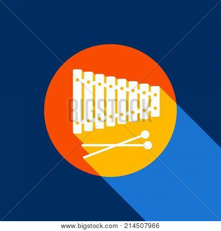 Xylophone sign. Vector. White icon on tangelo circle with infinite shadow of light at cool black background. Selective yellow and bright navy blue are produced.
