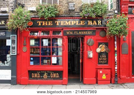 DUBLIN IRELAND - SEPTEMBER 5 2016: Temple Bar on September 5 2016 in Dublin. Temple Bar is a famous landmark in Dublins cultural quarter visited by thousands of tourists every year